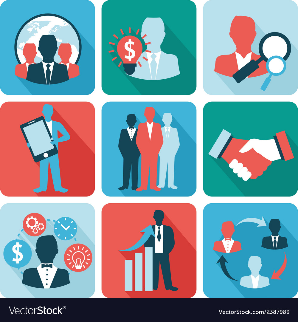 Business and management icons flat vector image
