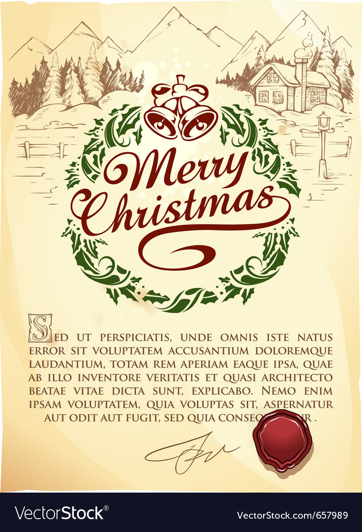 Calligraphic christmas lettering vector image