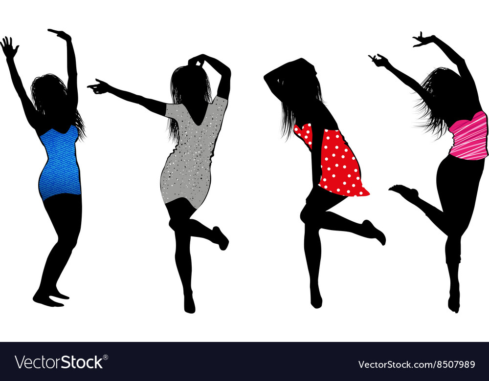 dancing girls silhouette cartoons vector image