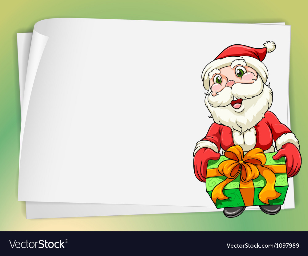 Paper sheets and santa claus vector image