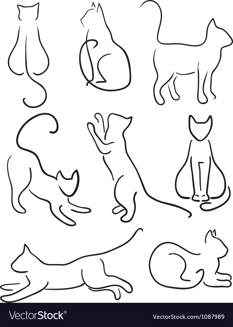 silhouette of cats royalty free vector image vectorstock