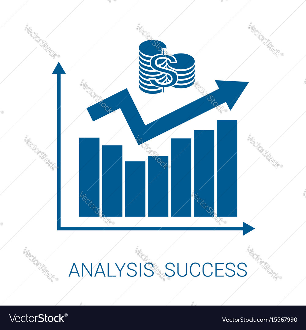 Icon chart analysis success blue vector image
