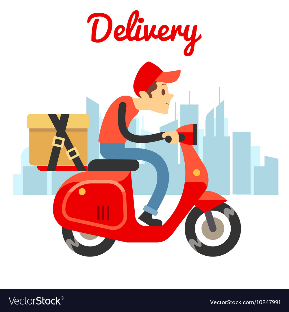 Delivery courier ride scooter motorcycle Vector Image