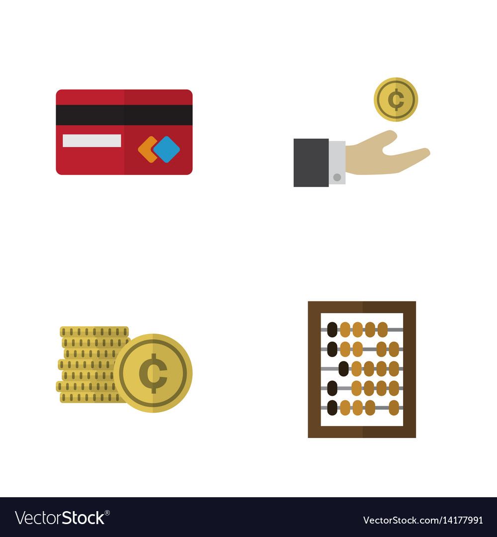 Flat exchequer set of counter payment hand with vector image