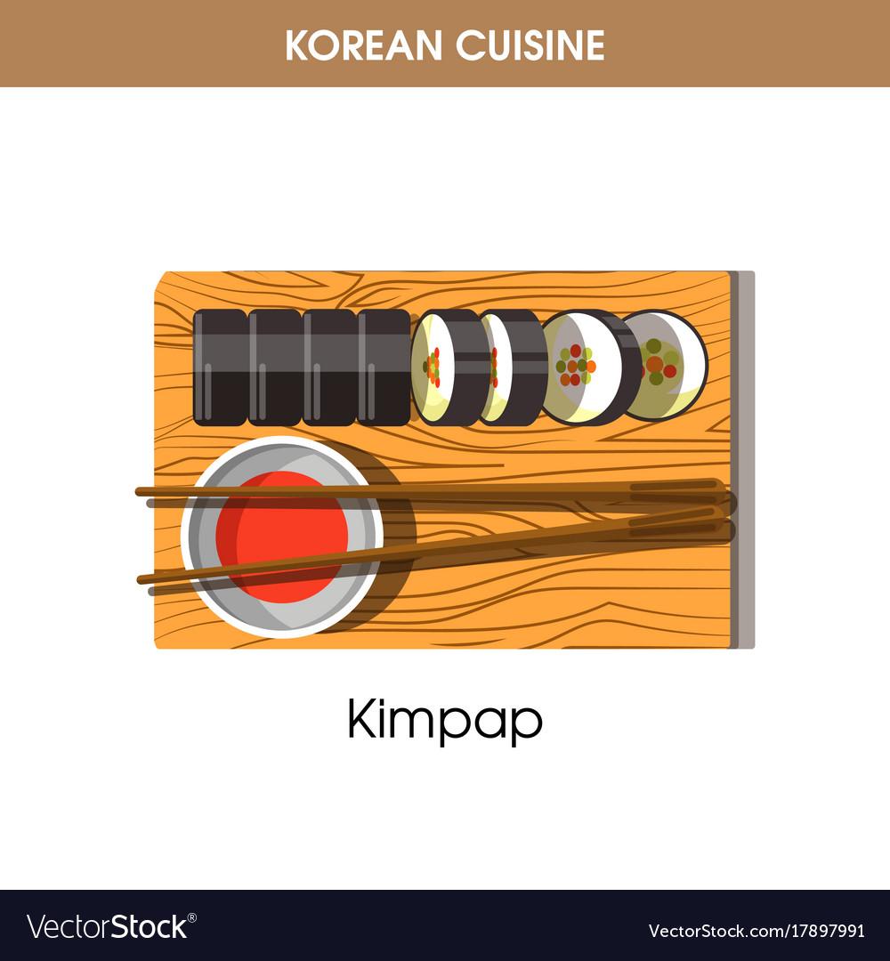 Korean cuisine kimpap sushi rolls traditional dish vector image