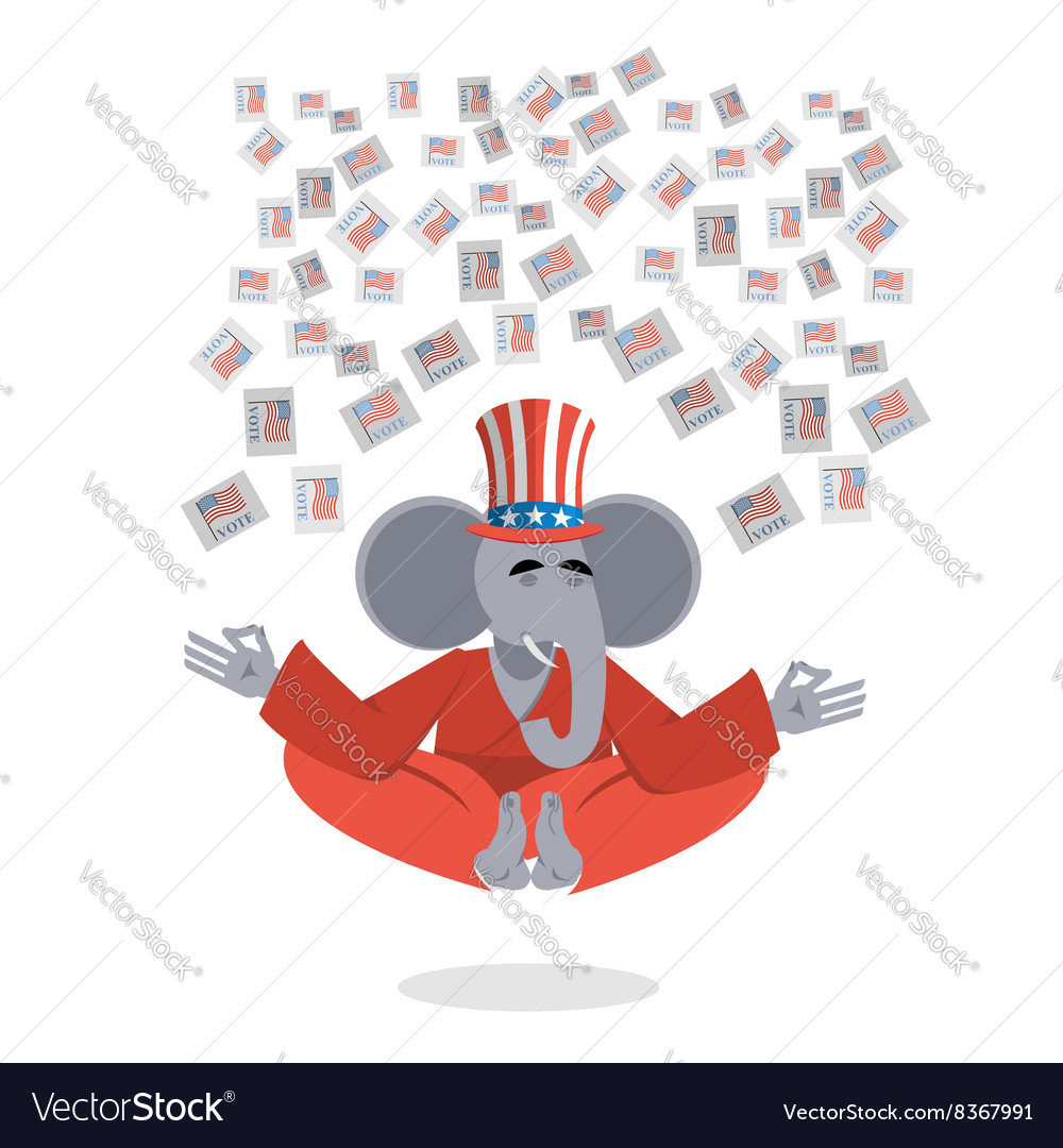Republican Elephant hat Uncle Sam meditating votes vector image