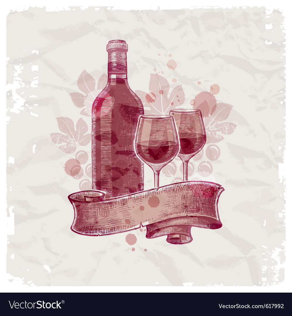 Hand drawn wine bottle and glasses vector image