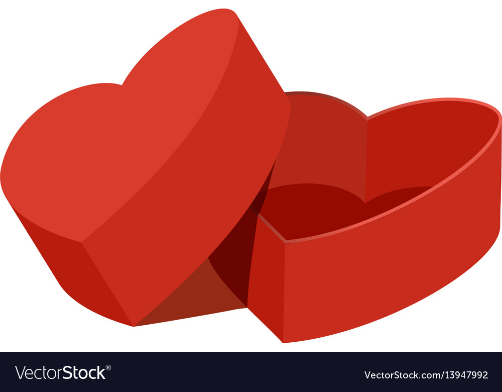 Red heart shaped gift box icon flat style vector image