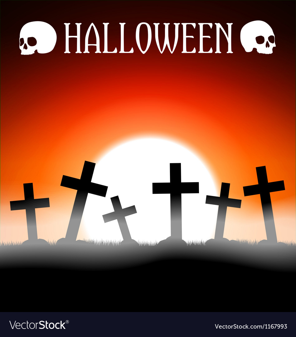 Halloween graveyard with crosses Royalty Free Vector Image