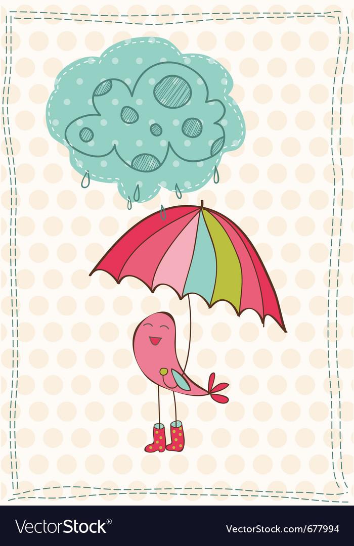 Autumn birds card vector image
