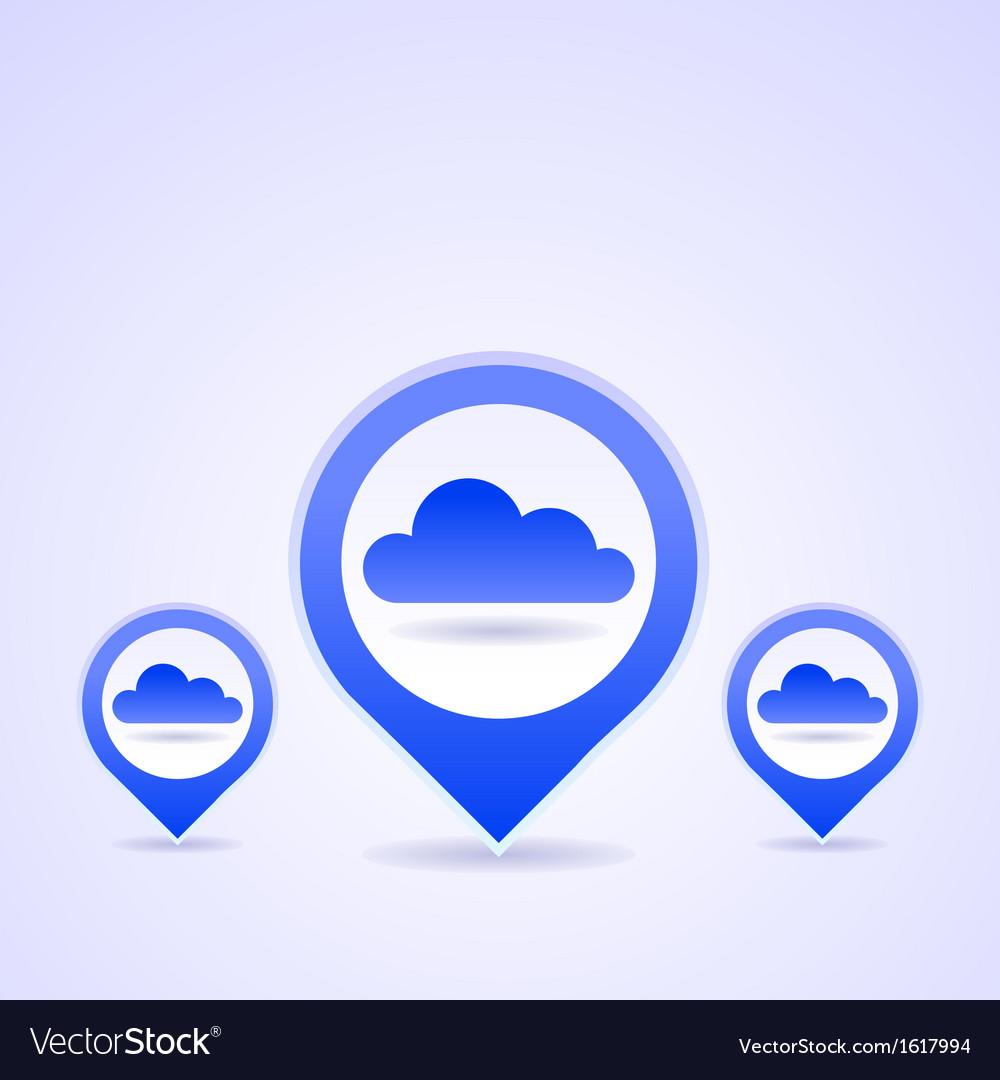 Blue Cloud Icon Set vector image