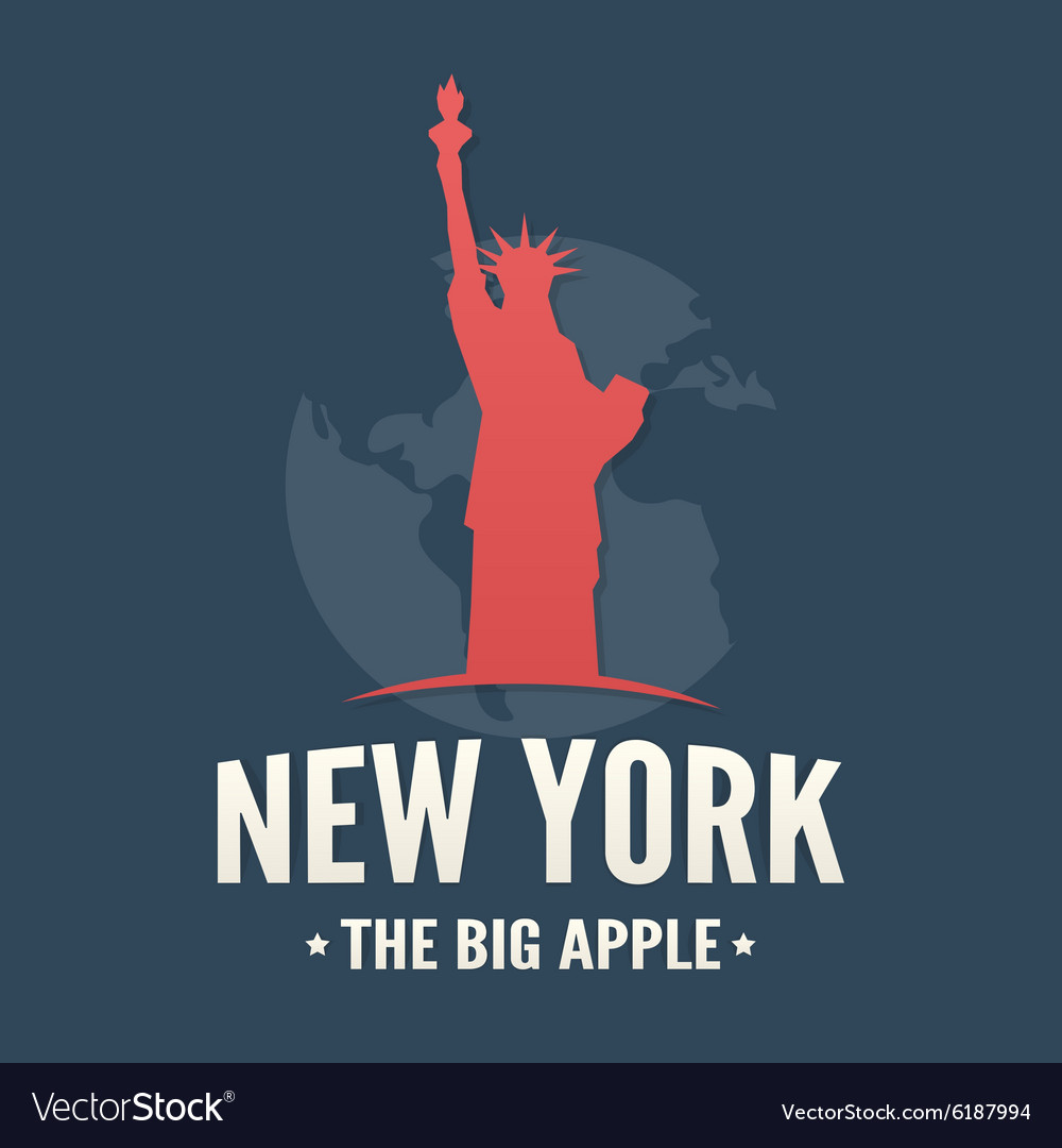 Typography poster of NYC and Statue of Liberty vector image