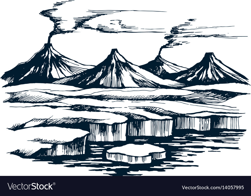 Iceland volcanic group on the island vector image