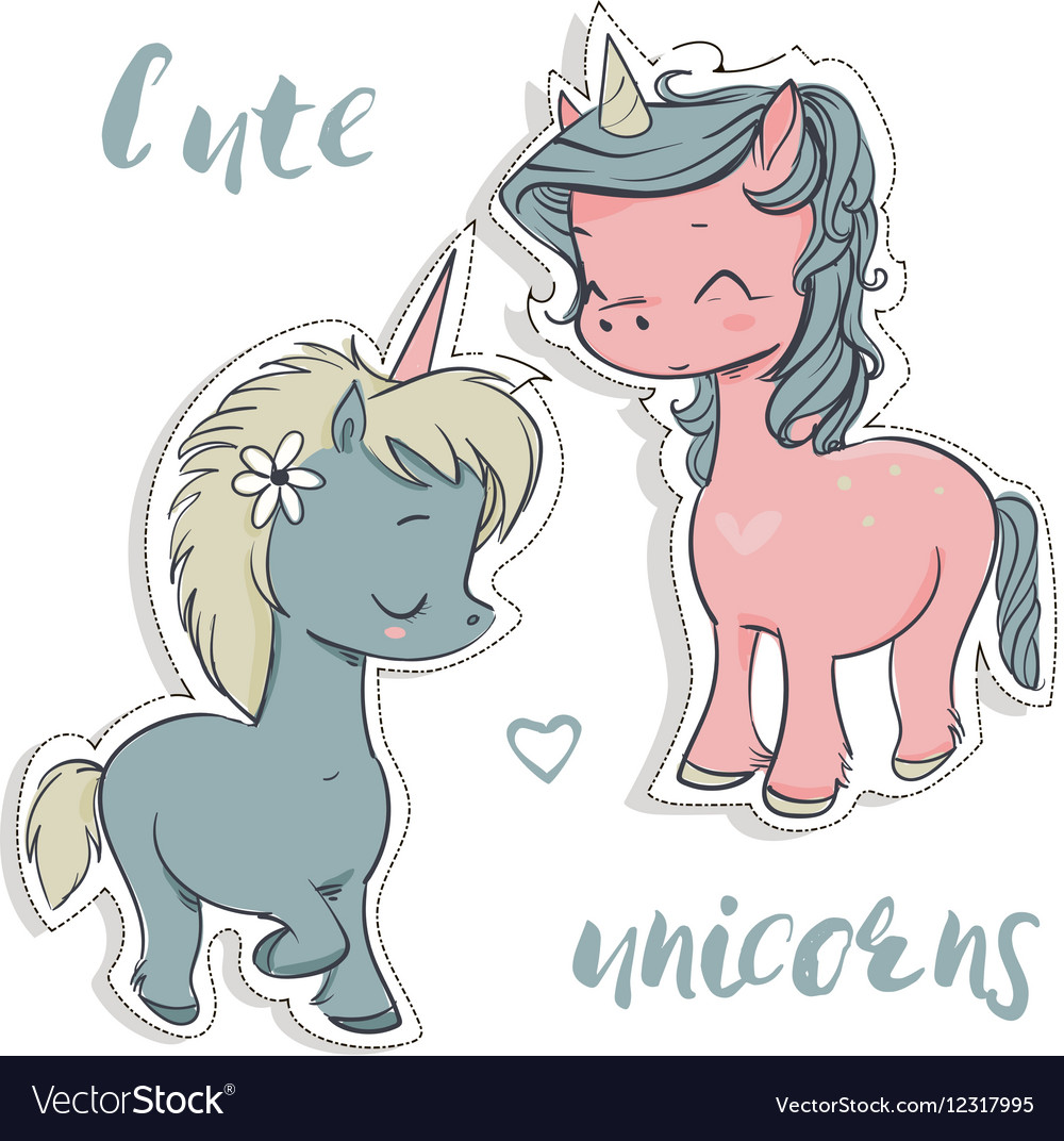 Pink and blue cartoon unicorns vector image