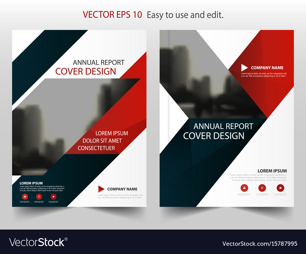 Red blue triangle abstract annual report brochure vector image