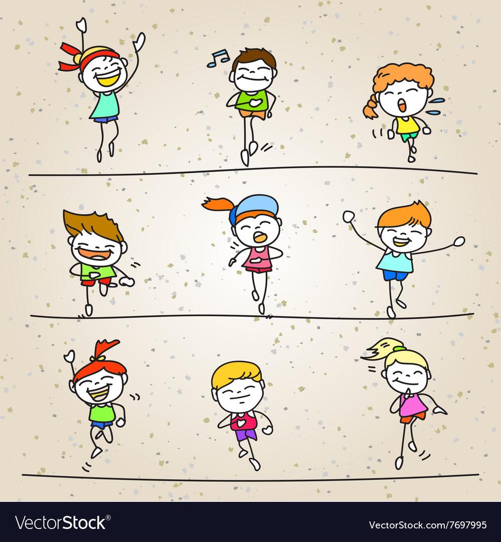 set of hand drawing cartoon happy kids running vector image