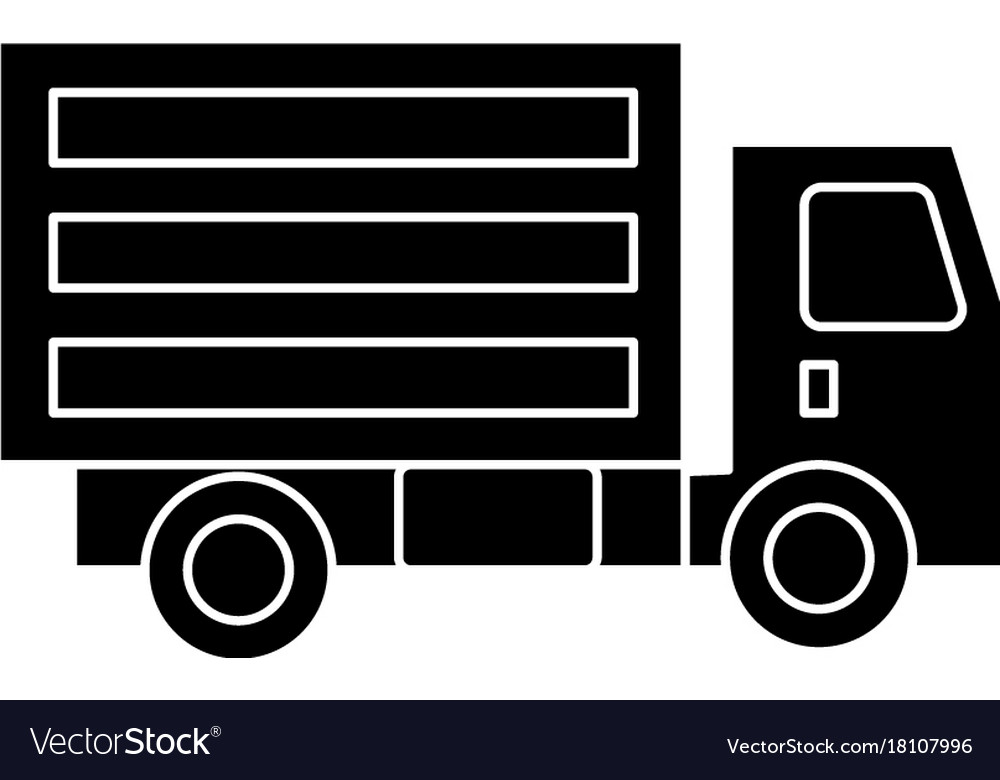 Truck mini icon black sign vector image