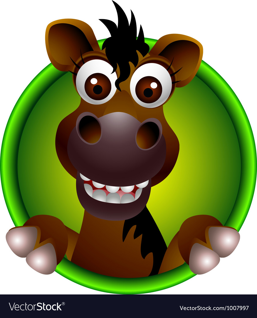 cute horse head cartoon royalty free vector image