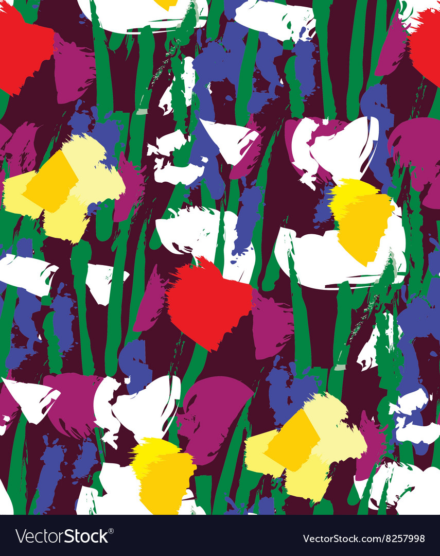 Flowers color seamless pattern wallpaper vector image