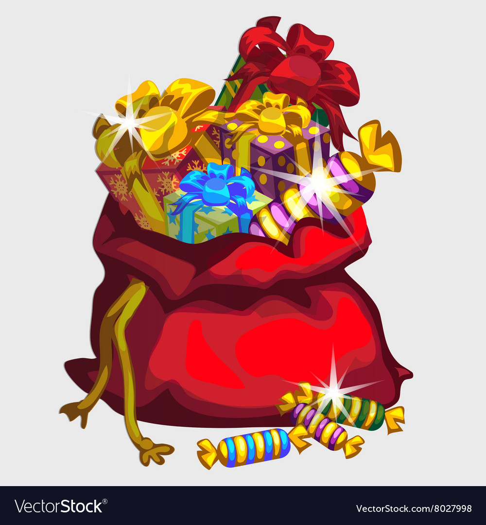 Big red bag of gifts and sweets festive icon vector image