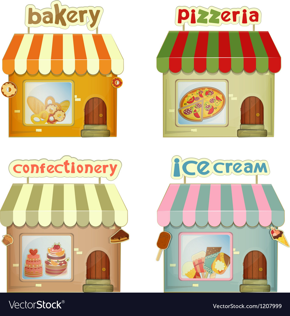 Set of Cartoon Shops Vector Image