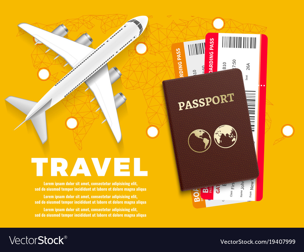 Air travel banner with plane world map and vector image gumiabroncs Images