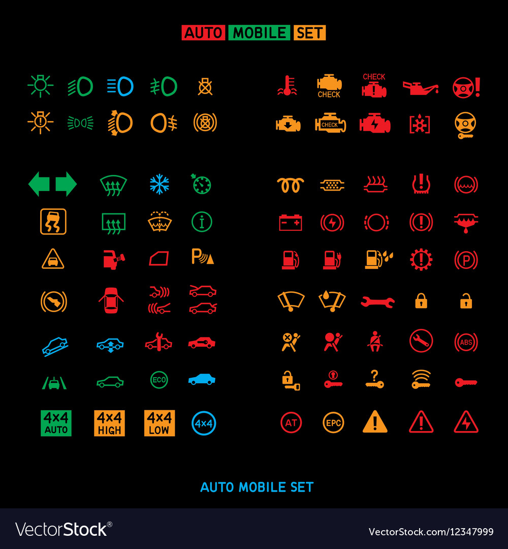 Auto car sign set vector image