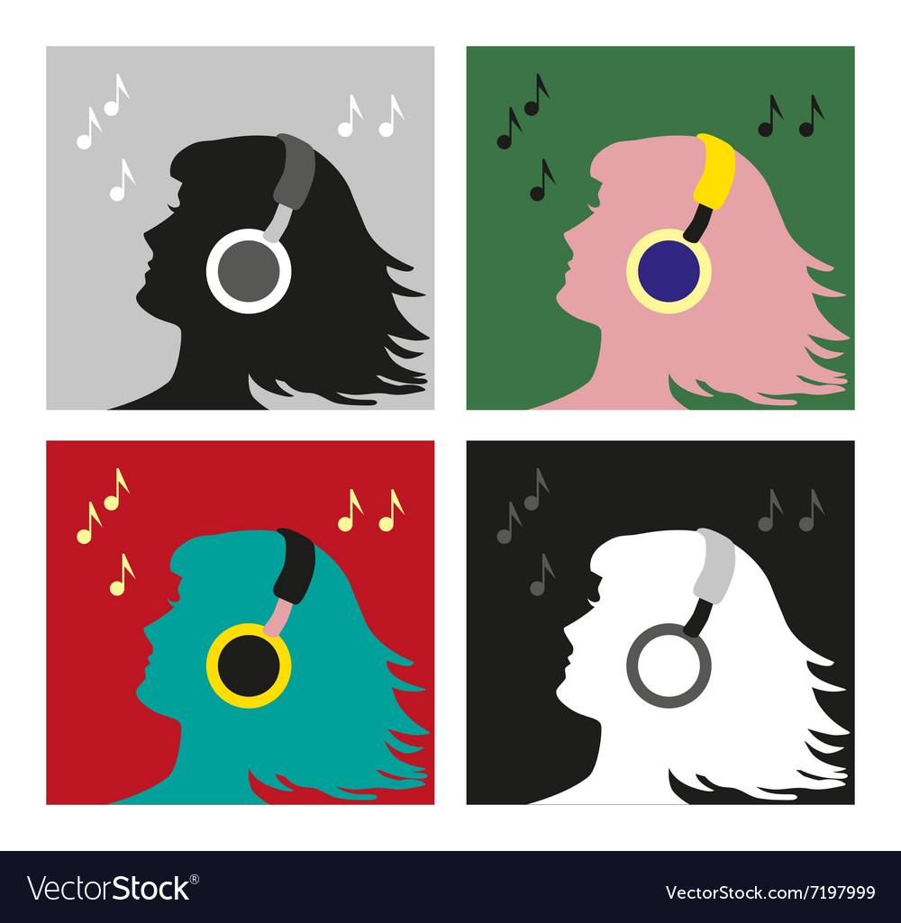 Profile with headphones pop art vector image
