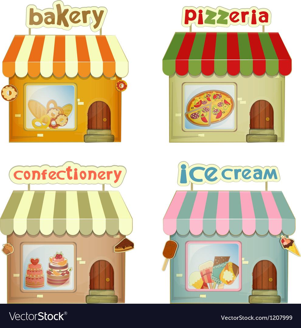 Set of Cartoon Shops vector image