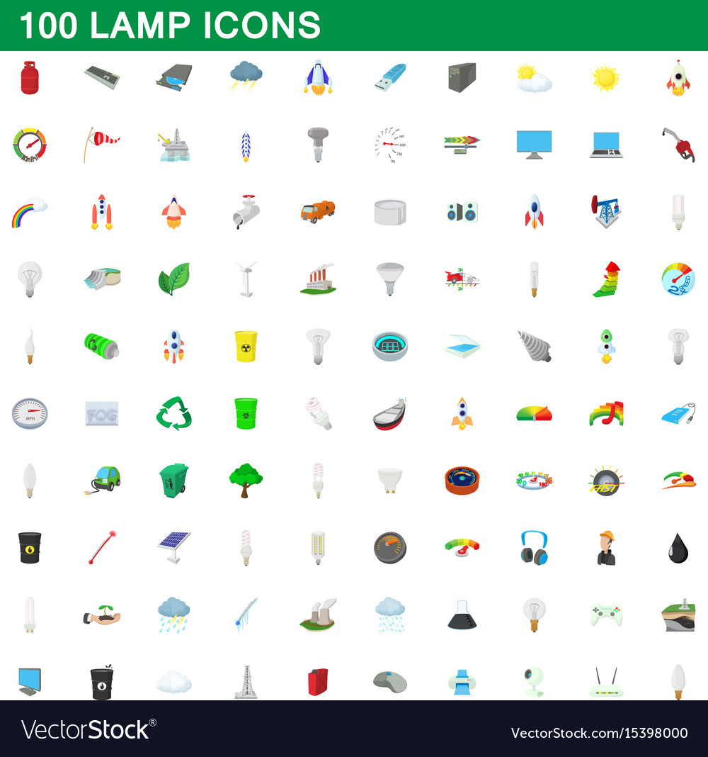 100 lamp icons set cartoon style vector image