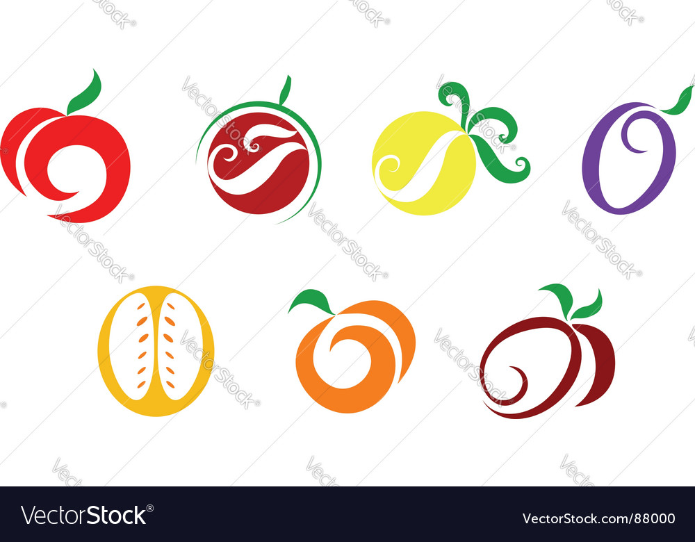 Fruits and vegetable icons vector image