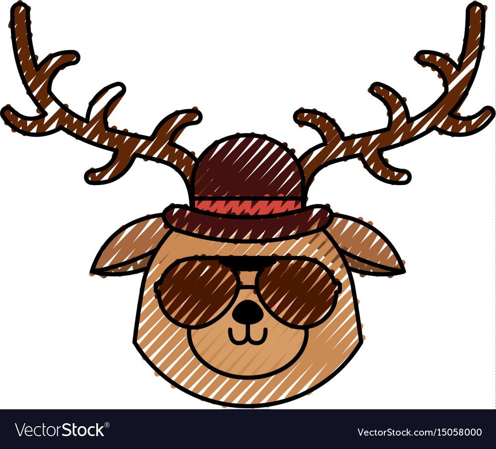 Cute scribble vintage deer face cartoon vector image