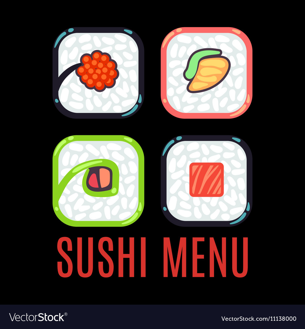 Sushi menu food logo template black vector image
