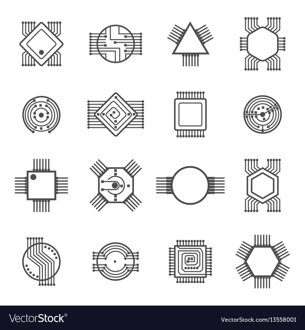 Computer chip icons electronic circuit and vector image