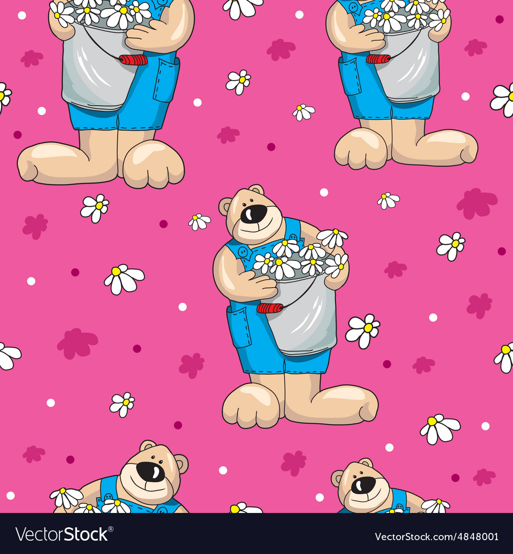 Pattern with teddy bears on pink background