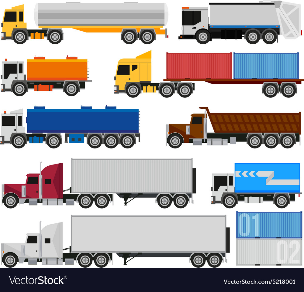 Trucks and trailers vector image