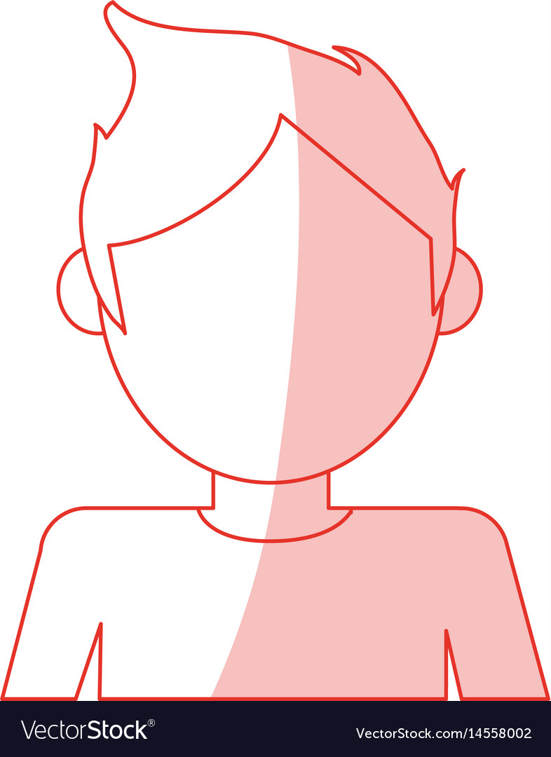 Red silhouette shading cartoon faceless half body vector image