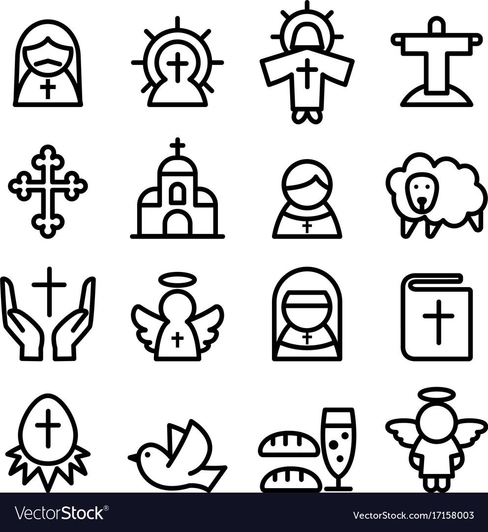 Thanksgiving easter god christian icon set in vector image thanksgiving easter god christian icon set in vector image biocorpaavc