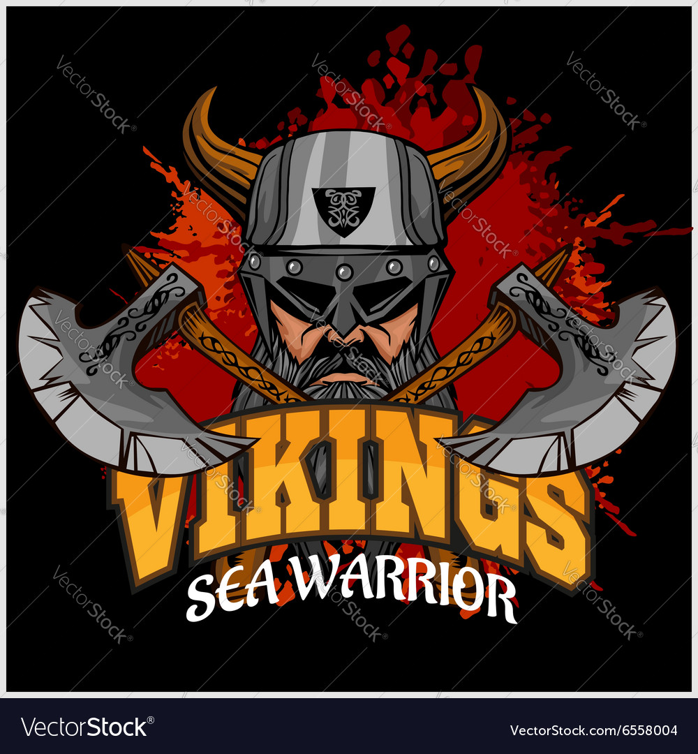 Viking warrior and crossed axes vector image