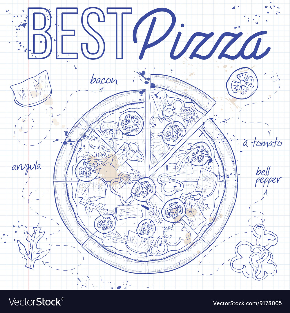 Pizza with bacon on a notebook page vector image