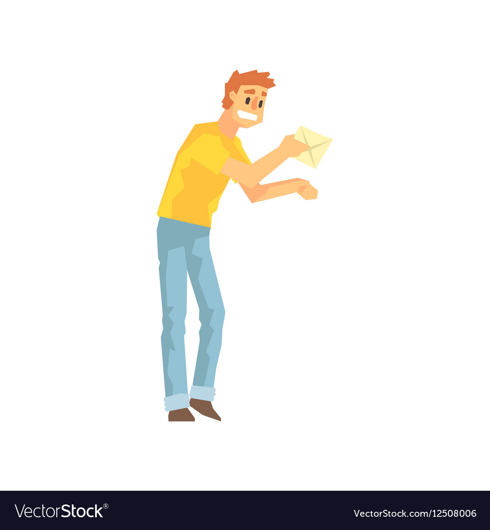 Guy Bringing The Mail To Door Delivery Company vector image