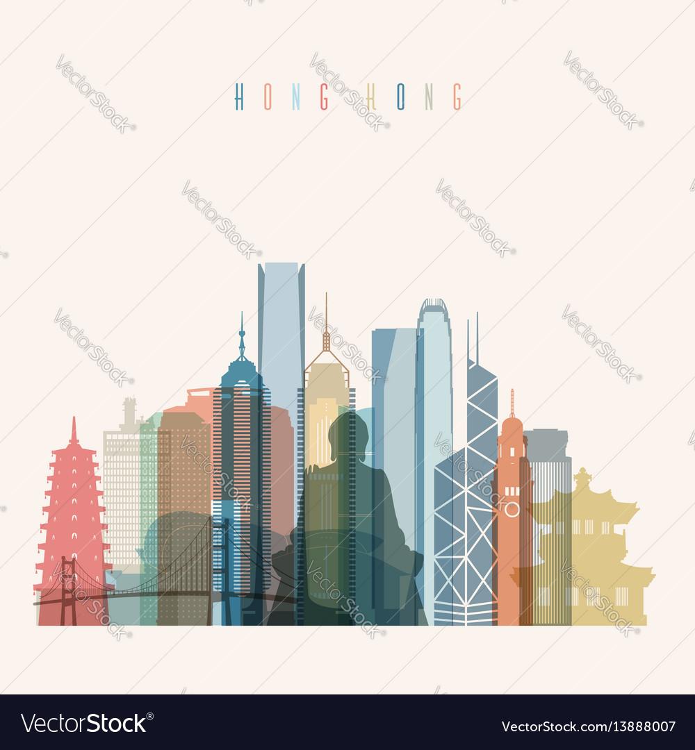 Hong kong skyline detailed silhouette vector image