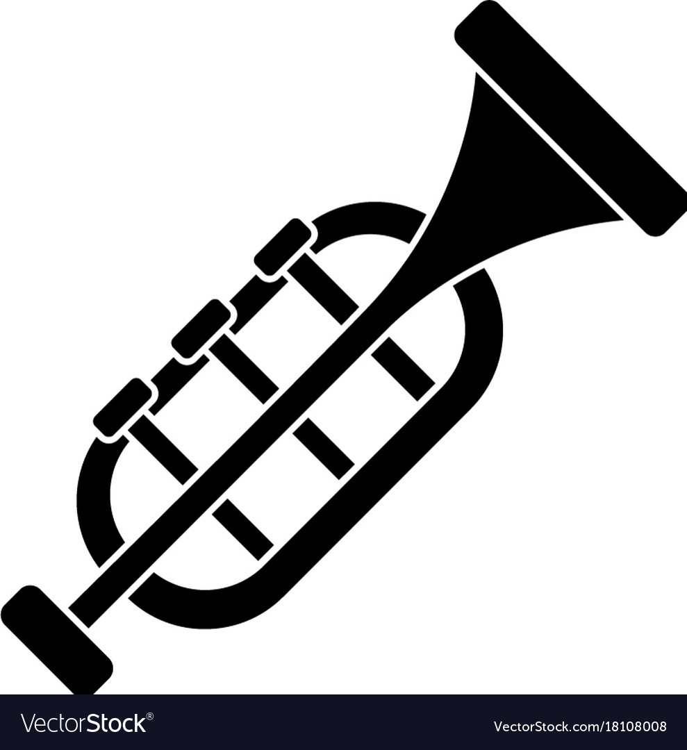 Trumpet - horn icon black vector image