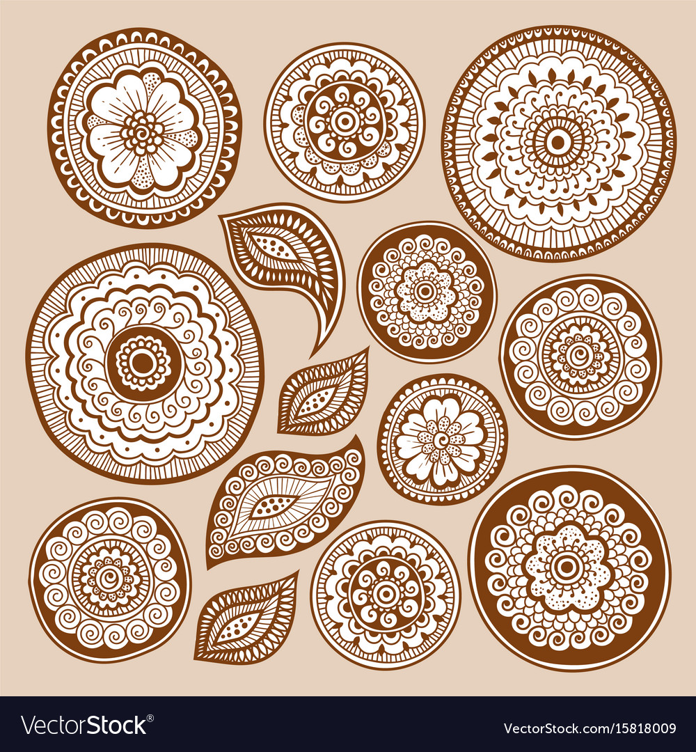 Henna tattoo doodle elements zentangle method vector image