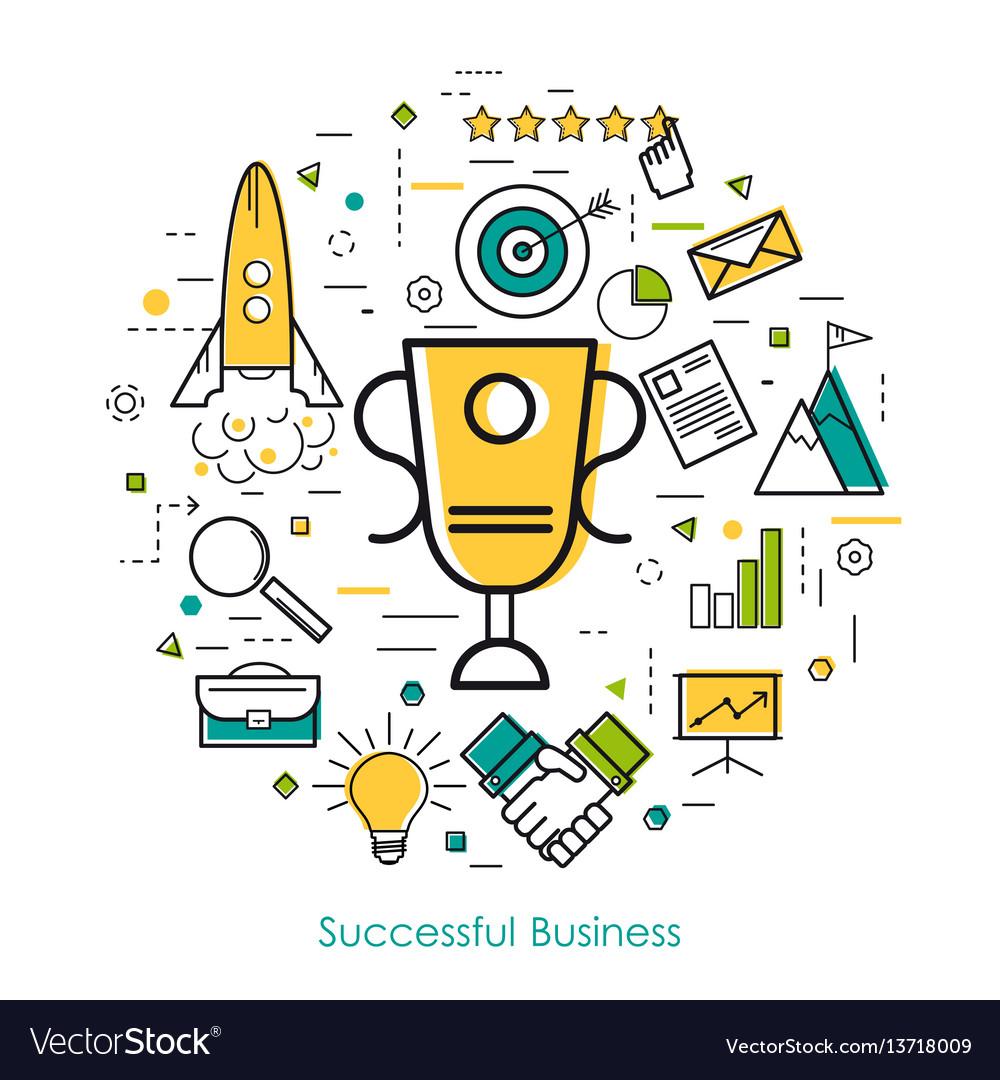 Line art concept - successful business vector image