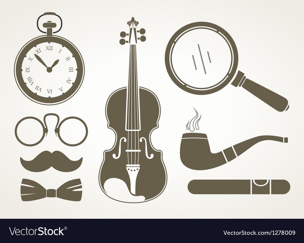 Retro detective accessories vector image