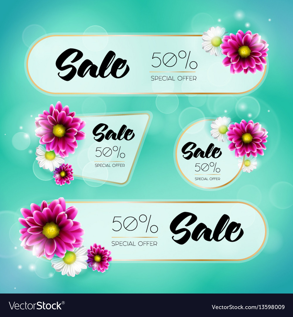 Spring sale banners vector image