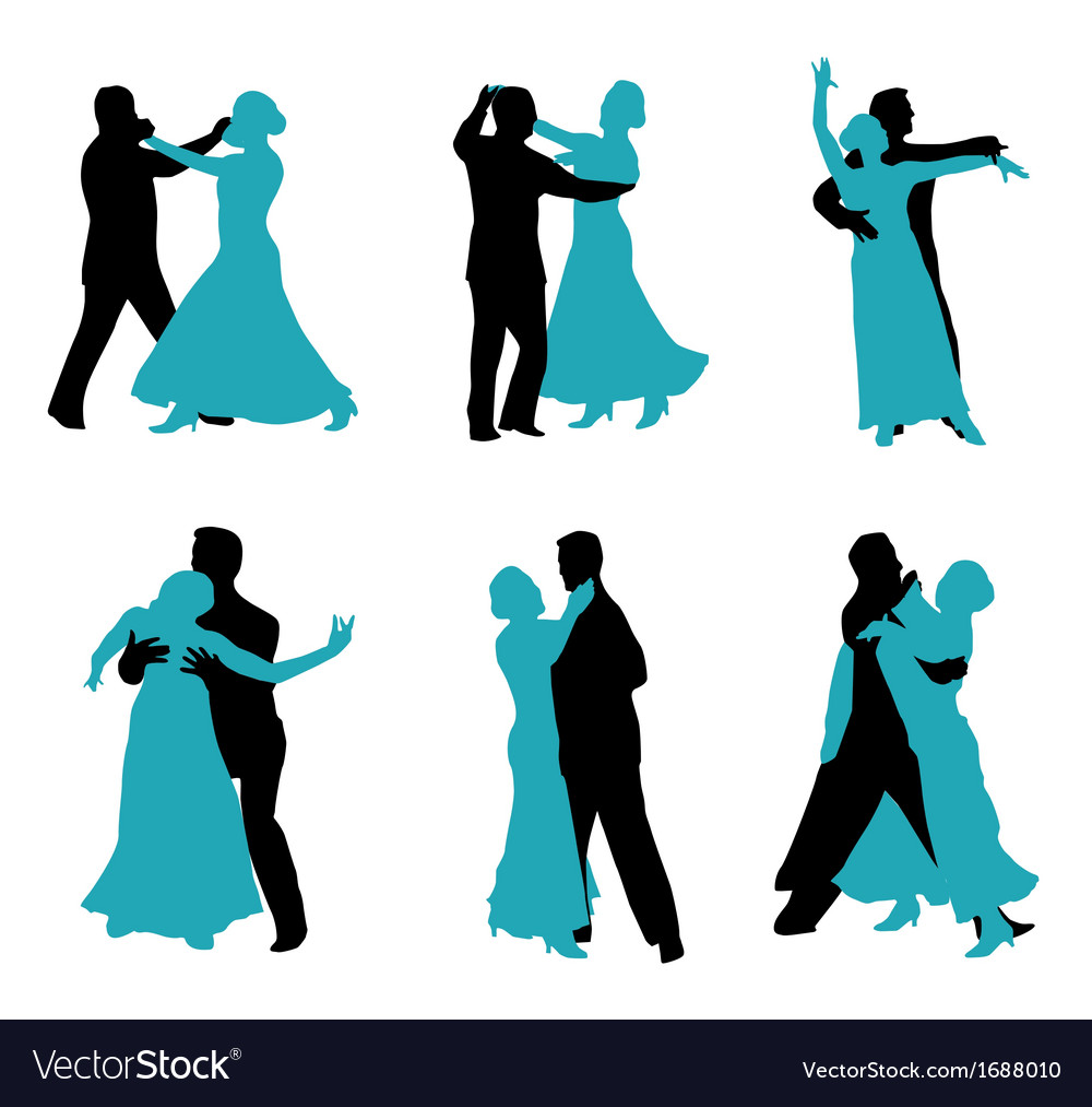 Couple ballroom dancing silhouette Royalty Free Vector Image