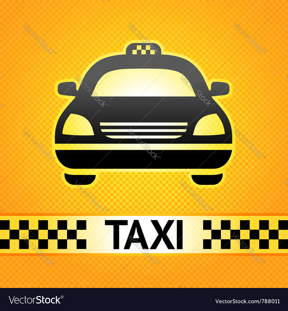 Taxi cab symbol on background pixel pattern vector image