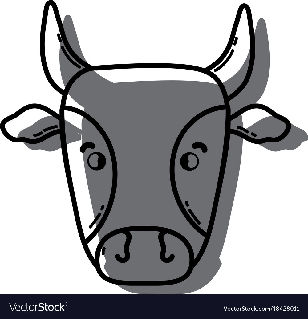 Color cute cow head farm animal Royalty Free Vector Image